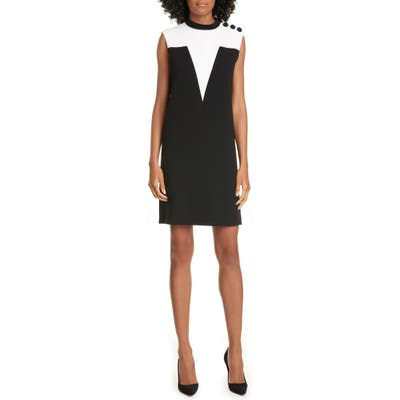 Judith & Charles Manarola Colorblock Stretch Crepe Shift Dress, Black