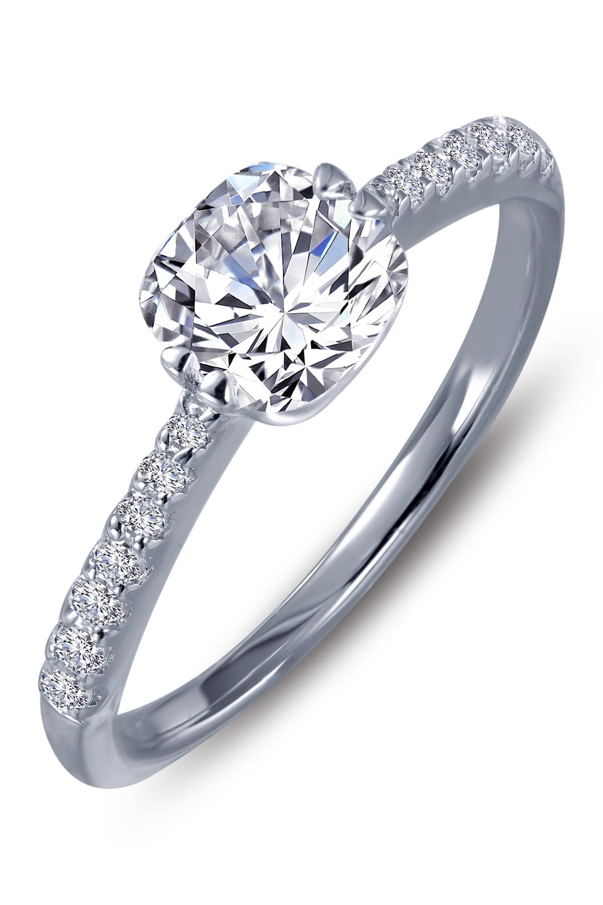 Image of LaFonn Sterling Silver Cushion Cut Simulated Stone Solitaire Ring