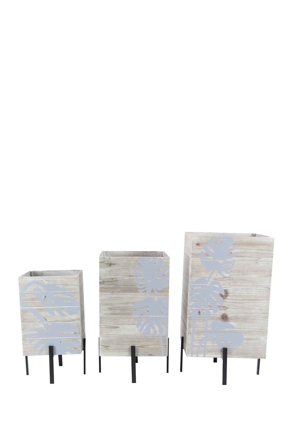 Image of Willow Row Brown Wood Rustic Rectangular Standing Planter - Set of 3