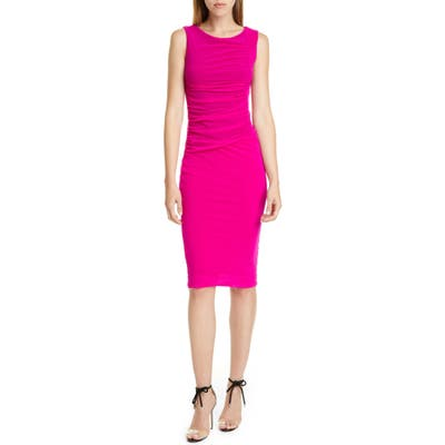 Fuzzi Ruched Mesh Sheath Dress, Pink