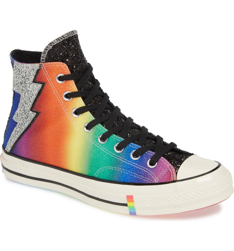 CONVERSE Pride Chuck Taylor<sup>®</sup> All Star<sup>®</sup> High Top Sneaker, Main, color, BLACK/ EGRET/ MULTI