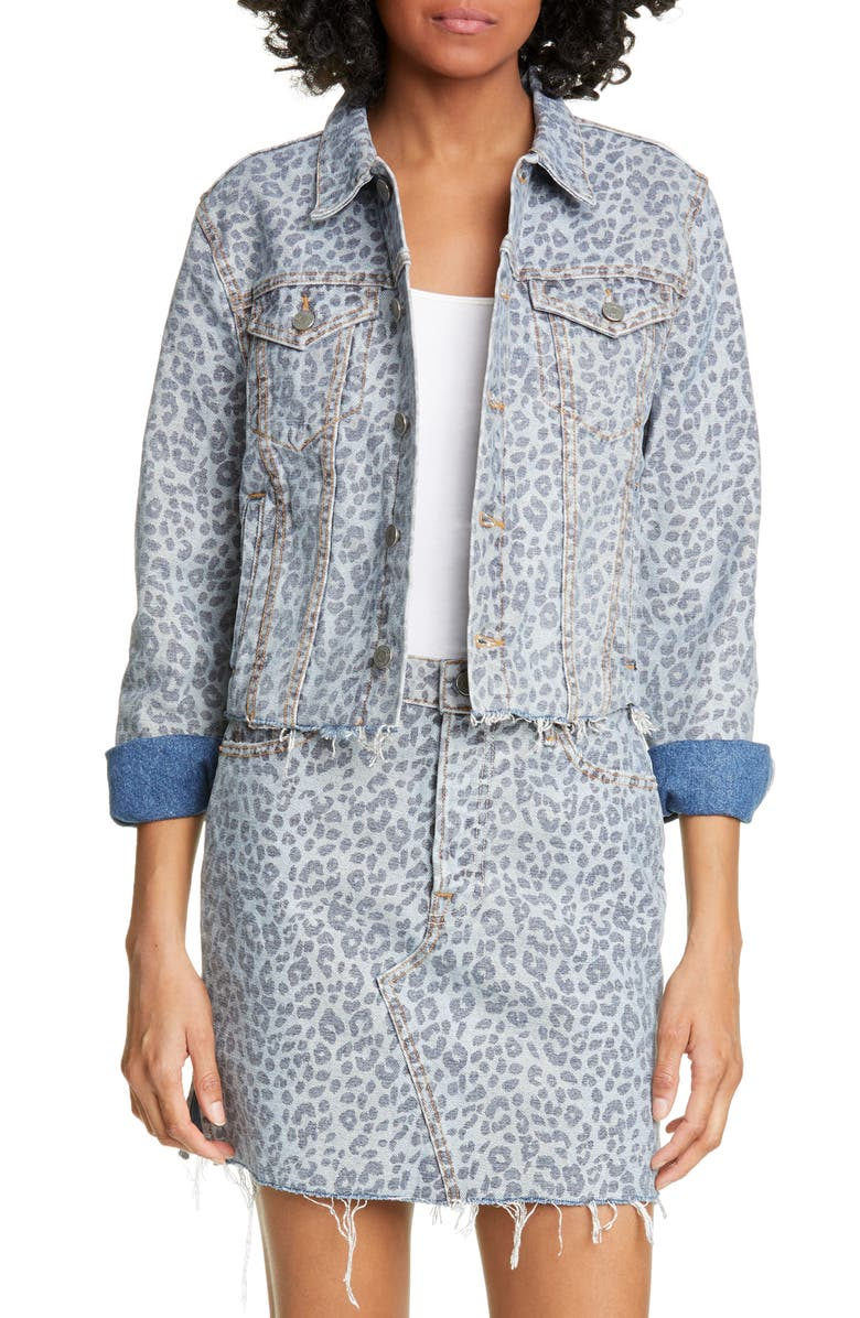 GRLFRND Cara Leopard Print Denim Jacket, Main, color, 300