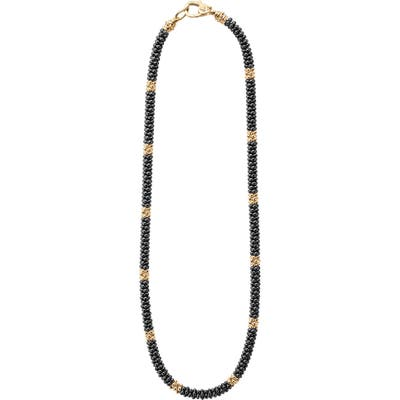 Lagos 18K Gold & Black Caviar Bead Rope Necklace