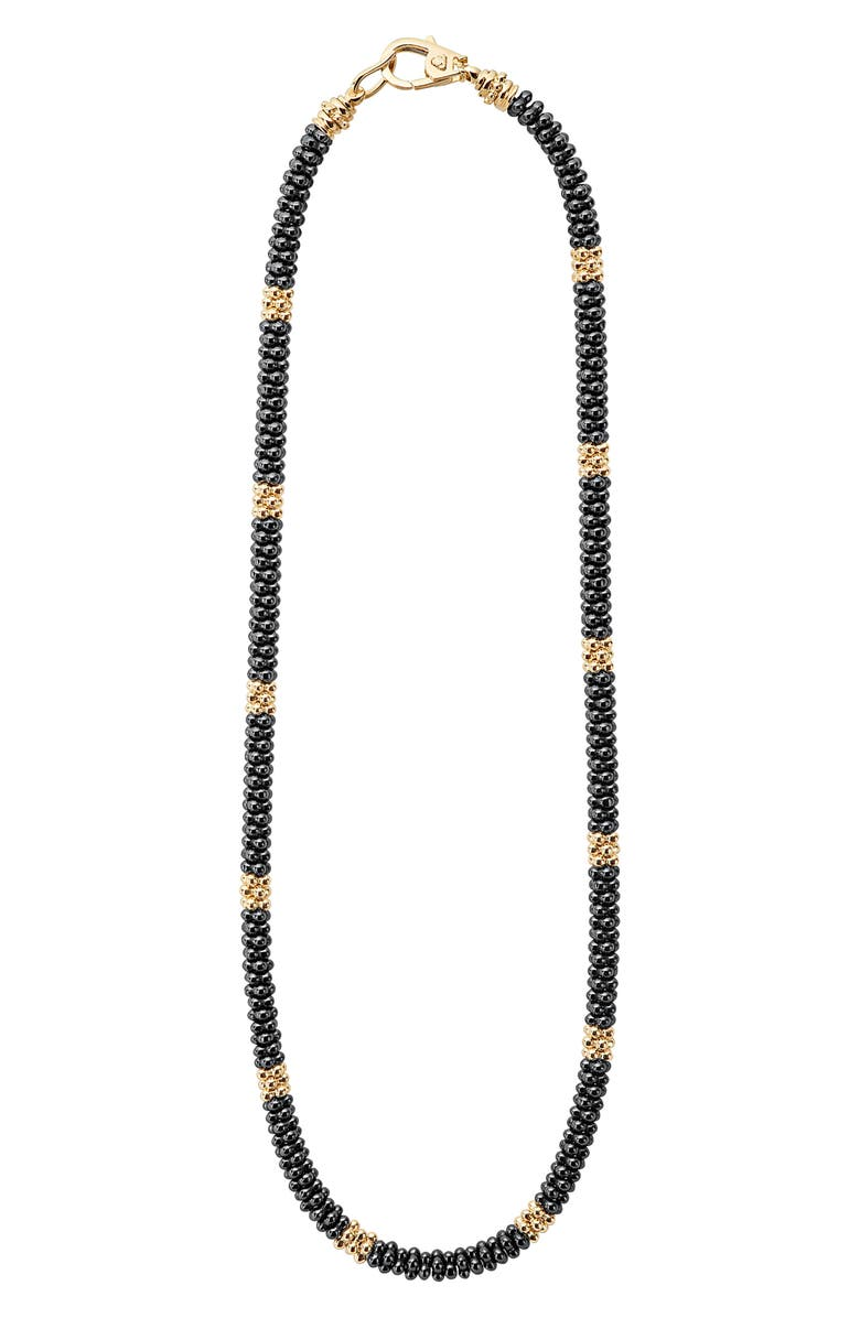 LAGOS 18K Gold & Black Caviar Bead Rope Necklace, Main, color, GOLD