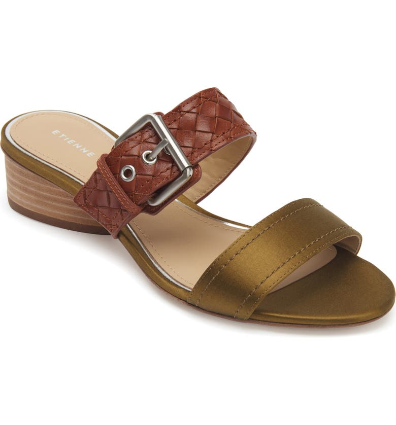 ETIENNE AIGNER Preston Buckle Strap Slide Sandal, Main, color, KHAKI LEATHER