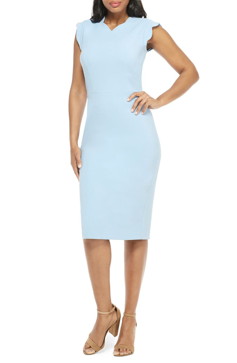 MAGGY LONDON Lucy Scallop Cap Sleeve Sheath Dress, Main, color, SKY BLUE