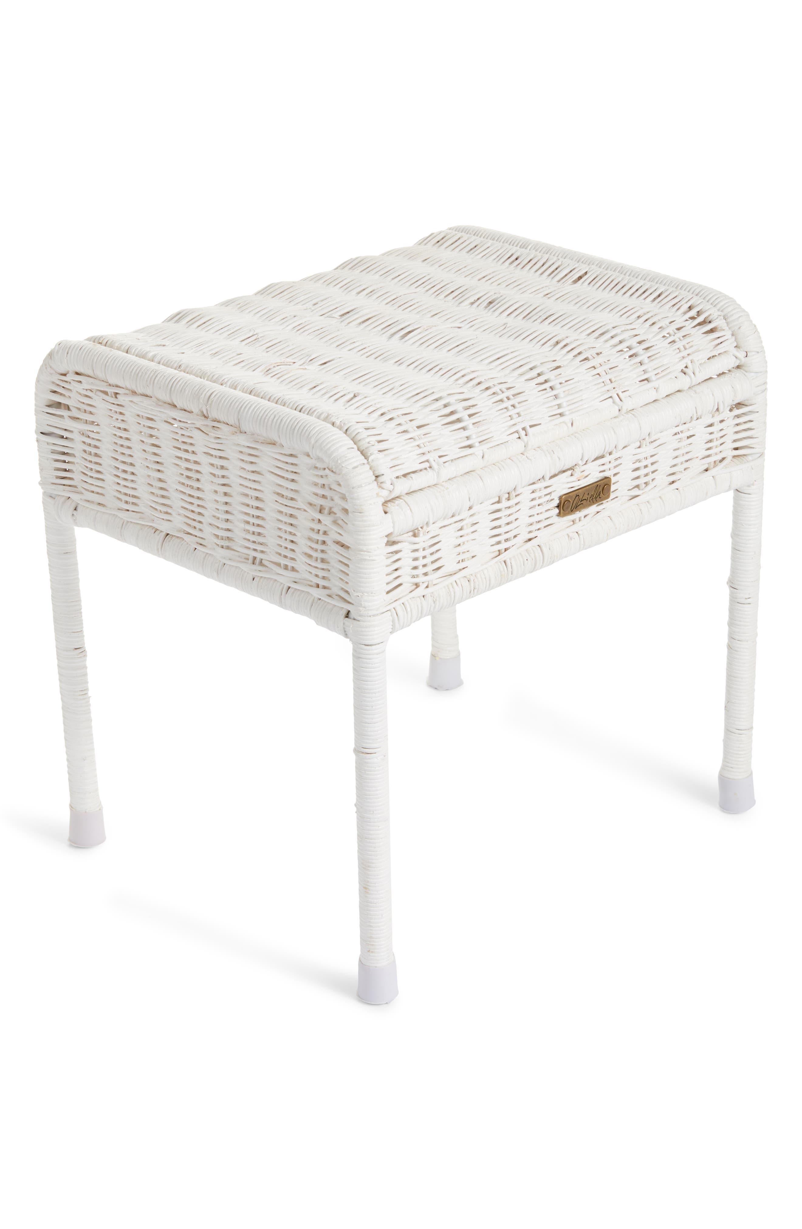 Olli Ella Storie Stool Rattan Storage Seat Size One Size  White