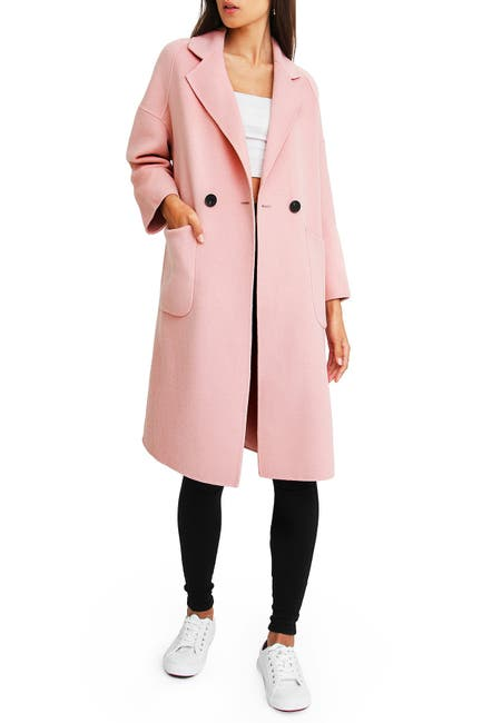 Image of Belle & Bloom Publisher Double-Breasted Wool Blend Coat