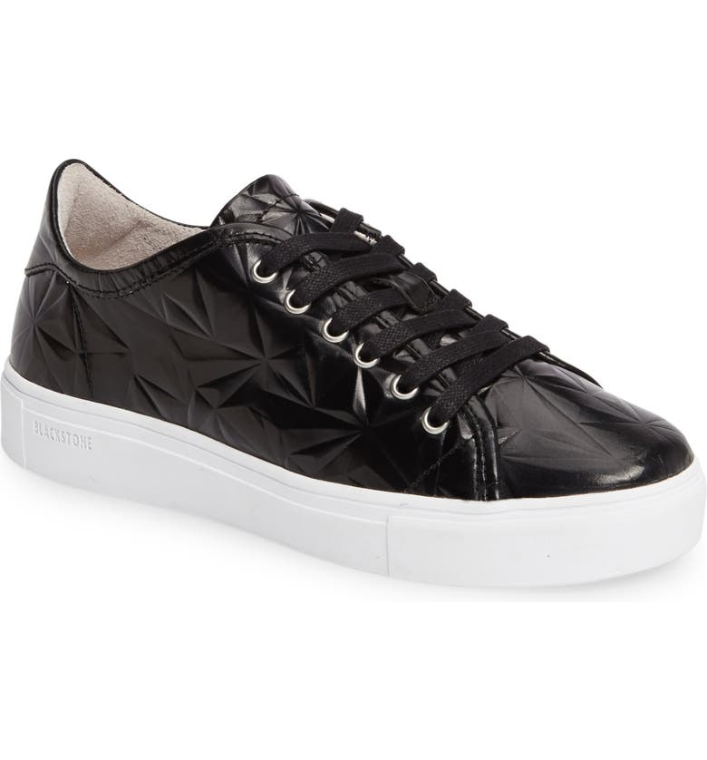 BLACKSTONE NL34 Faceted Sneaker, Main, color, BLACK LEATHER