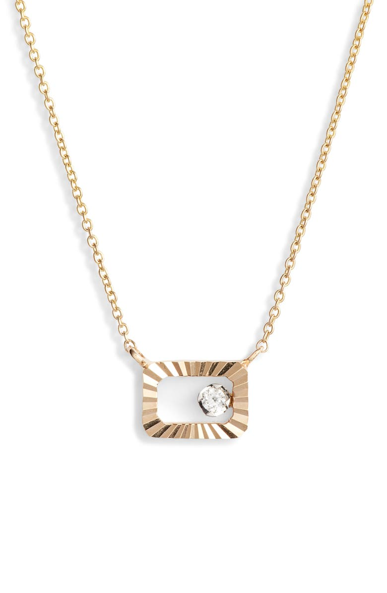 DANA REBECCA DESIGNS Mikaela Estelle Diamond Rectangle Pendant Necklace, Main, color, YELLOW GOLD
