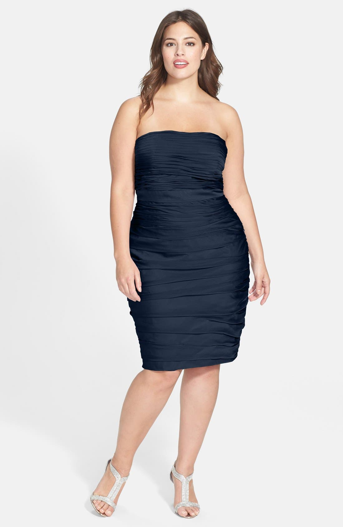 ,                             Ruched Strapless Cationic Chiffon Dress,                             Alternate thumbnail 43, color,                             400