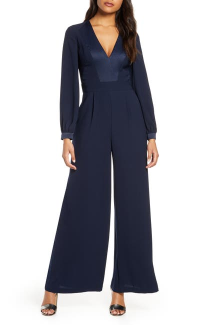Image of Eliza J Long Sleeve Wide Leg Jumpsuit