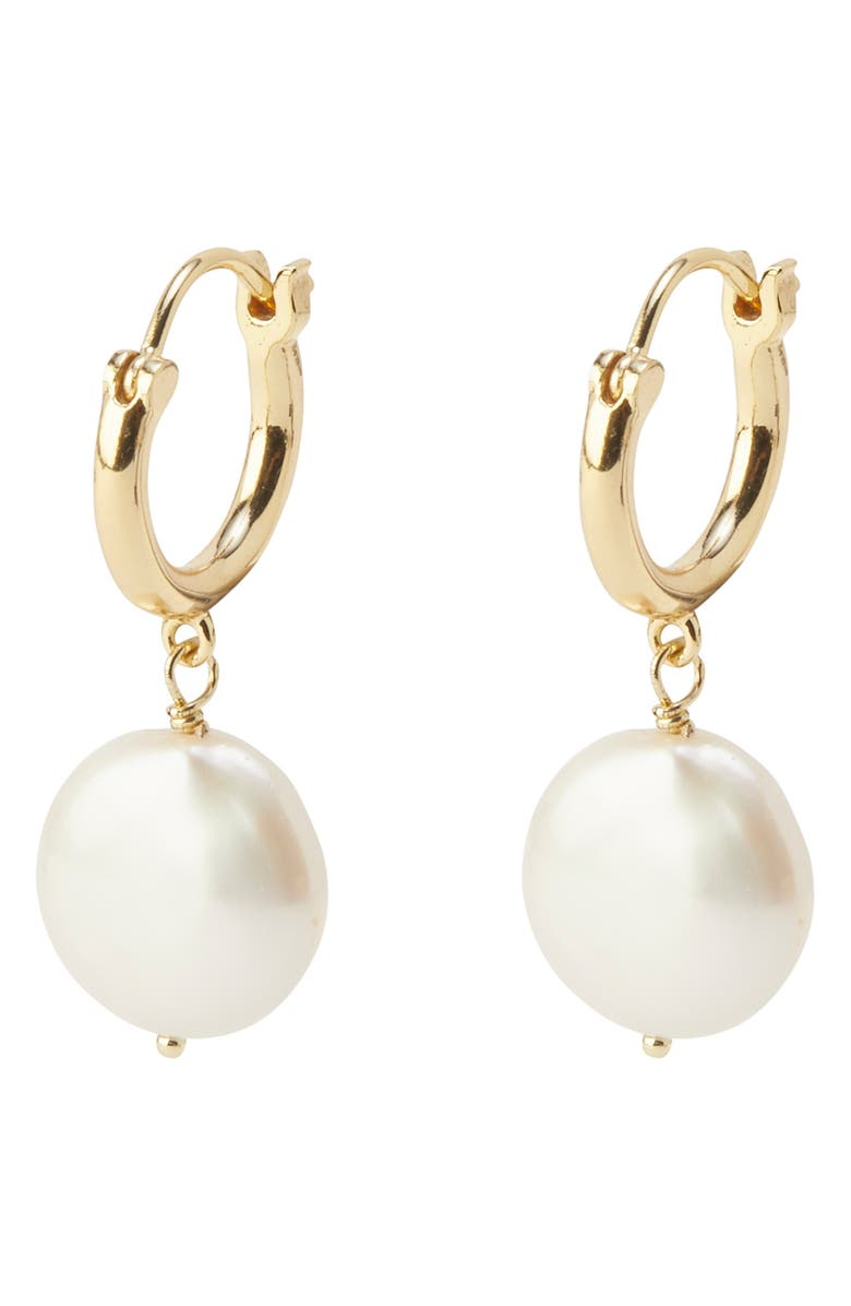 GORJANA Reese Freshwater Pearl Huggie Hoop Earrings, Main, color, 100