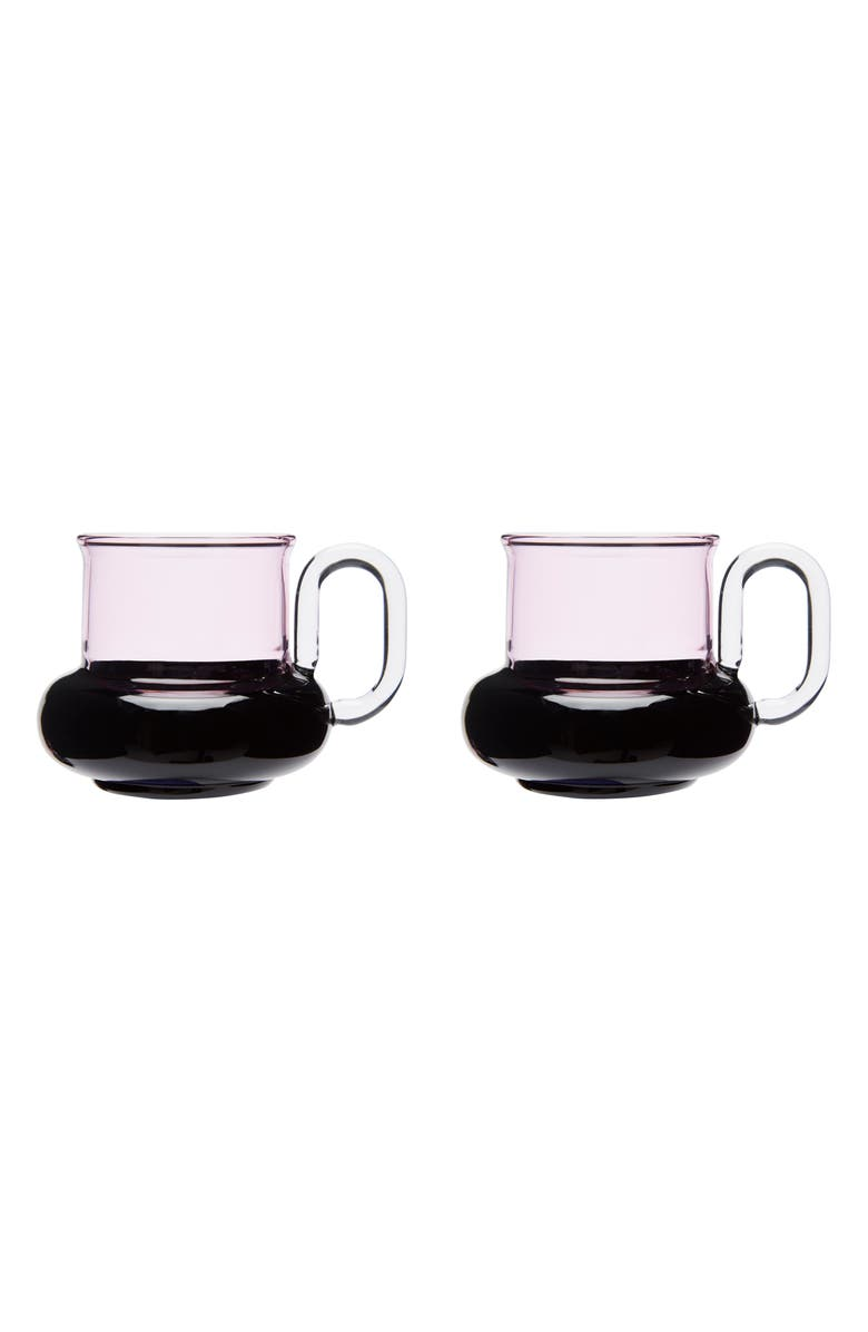 TOM DIXON Bump Set of 2 Tea Cups, Main, color, PINK/ BLACK