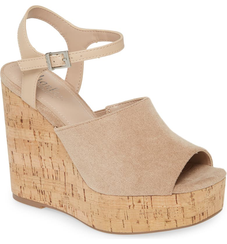CHARLES BY CHARLES DAVID Dory Platform Sandal, Main, color, LATTE/ NUDE FABRIC