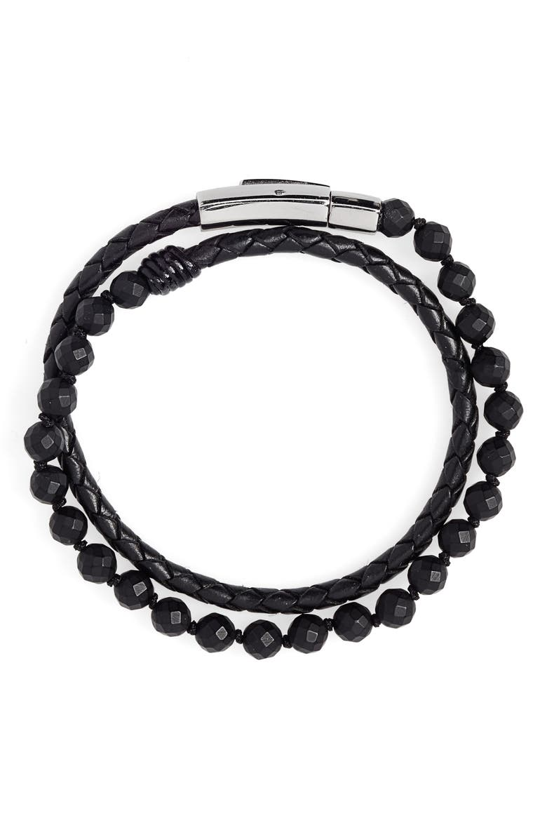 JONAS STUDIO Hand Knotted Onyx & Leather Bracelet, Main, color, BLACK