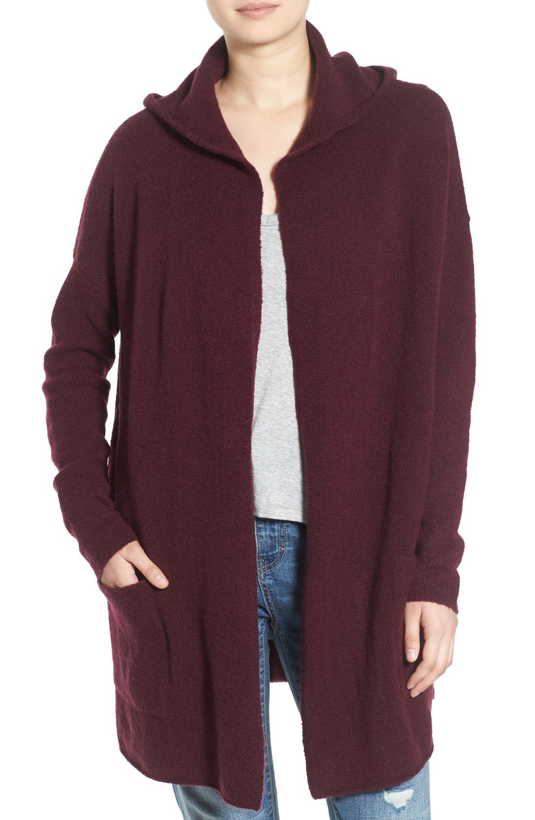 ,                             Hooded Longline Cardigan,                             Main thumbnail 11, color,                             930