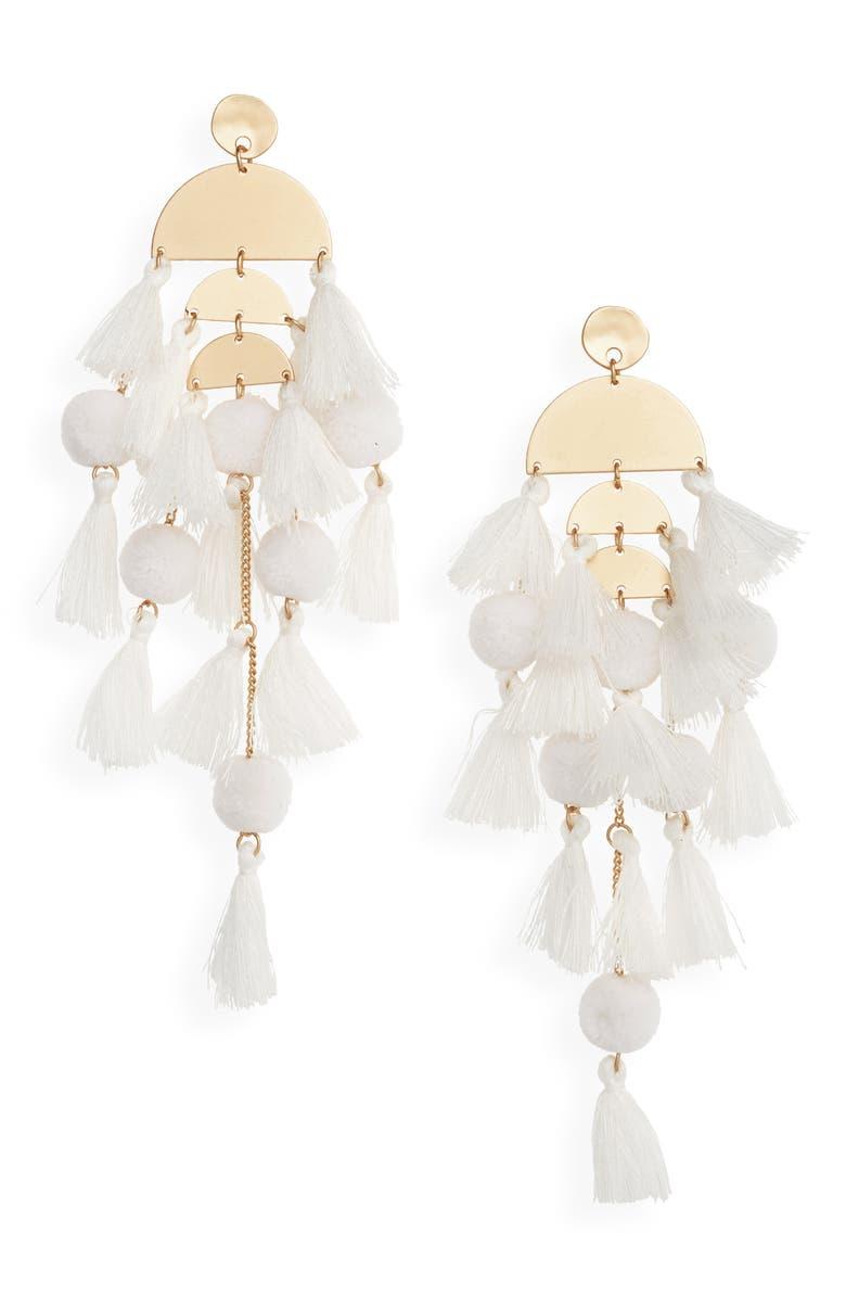 STELLA + RUBY Calypso Tassel Earrings, Main, color, GOLD/ WHITE