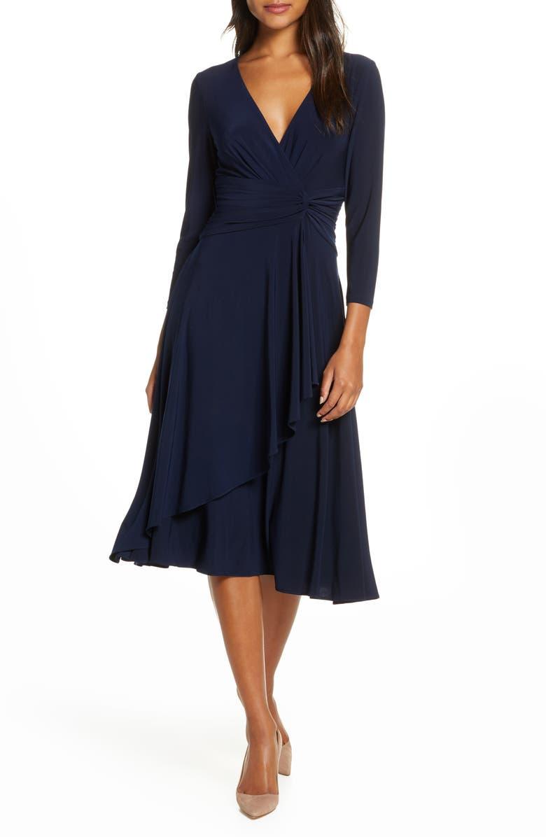 ELIZA J Faux Wrap Dress, Main, color, NAVY