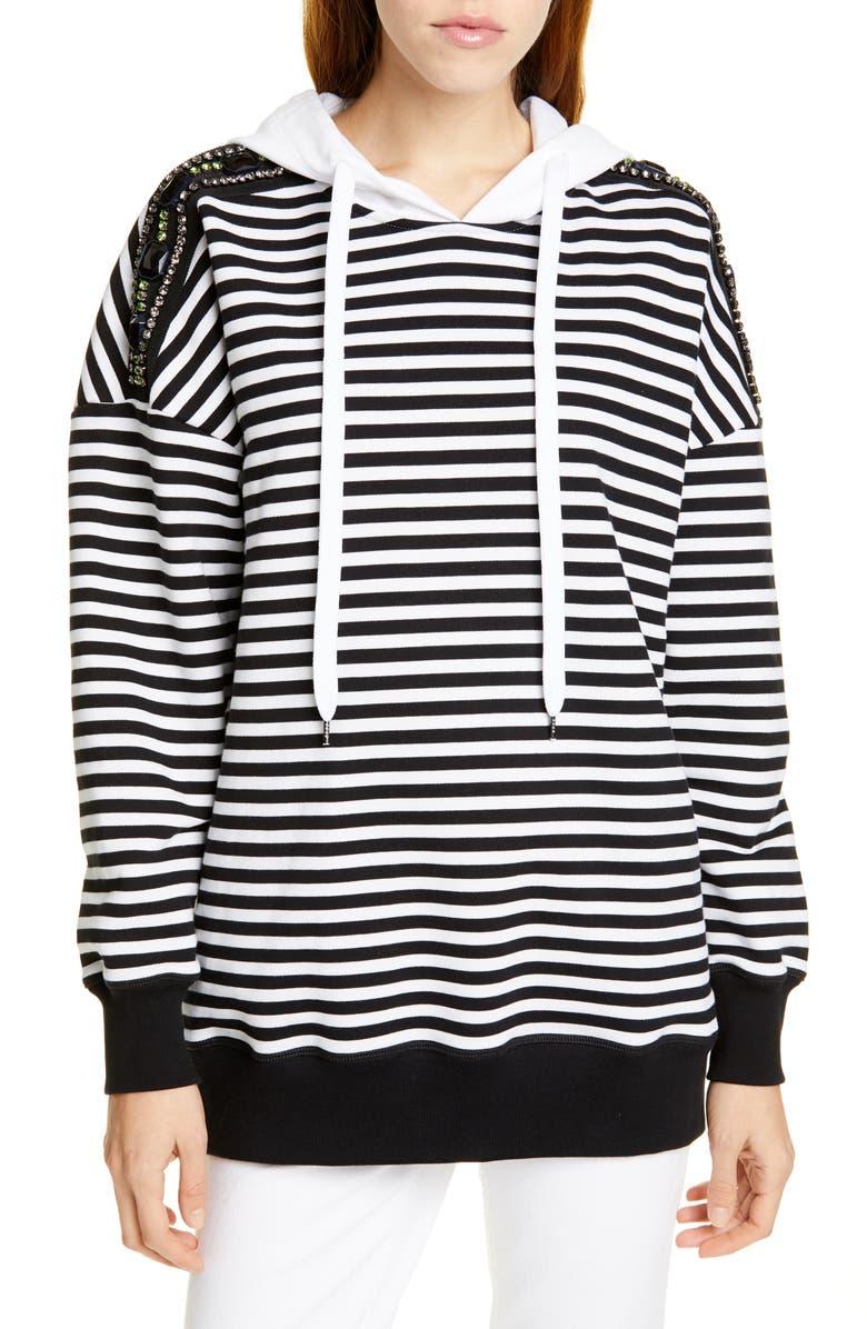 N°21 Nº21 Stripe Embellished Shoulder Hoodie, Main, color, 001