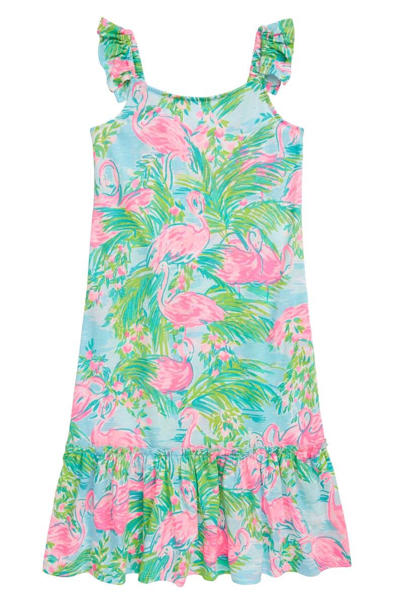 LILLY PULITZER<SUP>®</SUP> Odette Flamingo Print Dress, Main, color, MULTI FLORIDITA