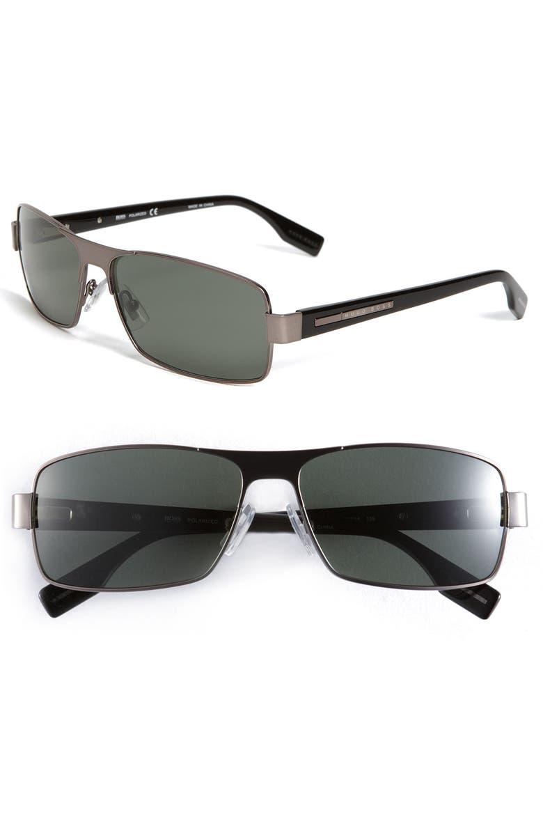 BOSS Black Polarized Rectangle Sunglasses, Main, color, 043