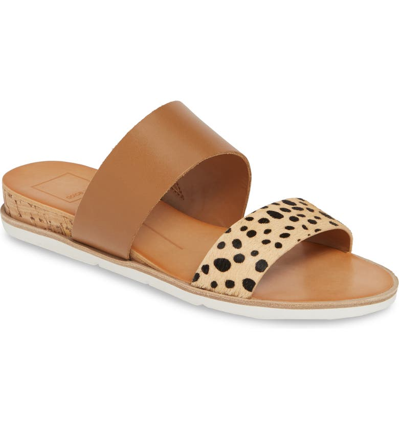 DOLCE VITA Vala Wedge Slide Sandal, Main, color, LEOPARD CALF HAIR
