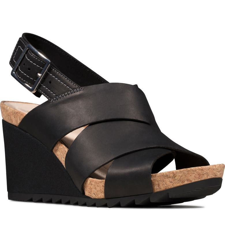 CLARKS<SUP>®</SUP> Flex Platform Wedge Sandal, Main, color, BLACK LEATHER