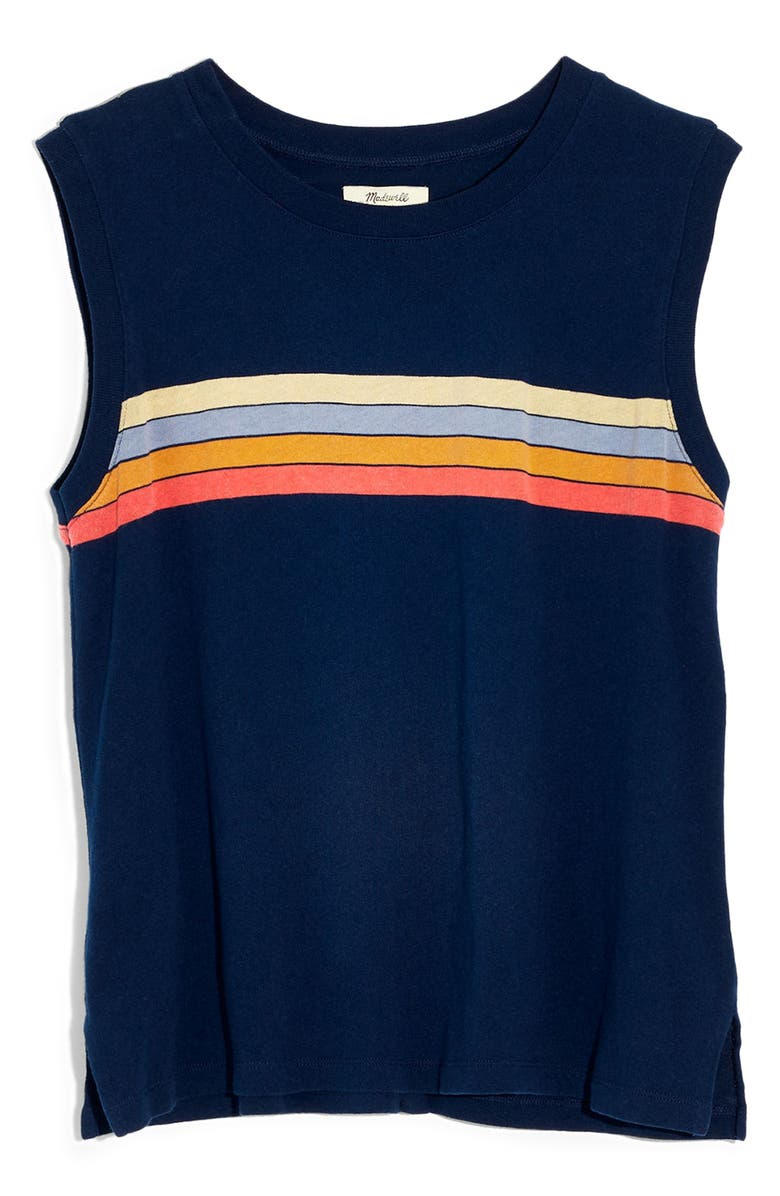 MADEWELL Stripe Ex-Boyfriend Muscle Tank Top, Main, color, NIGHTFALL ARRAN STRIPE