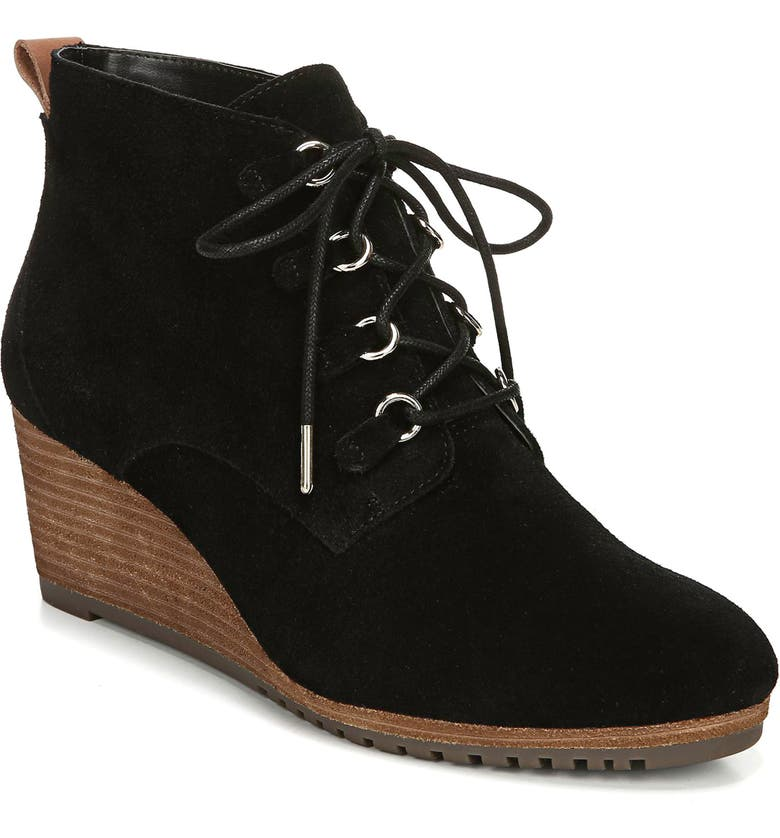 DR. SCHOLL'S Come on Over Wedge Bootie, Main, color, BLACK SUEDE