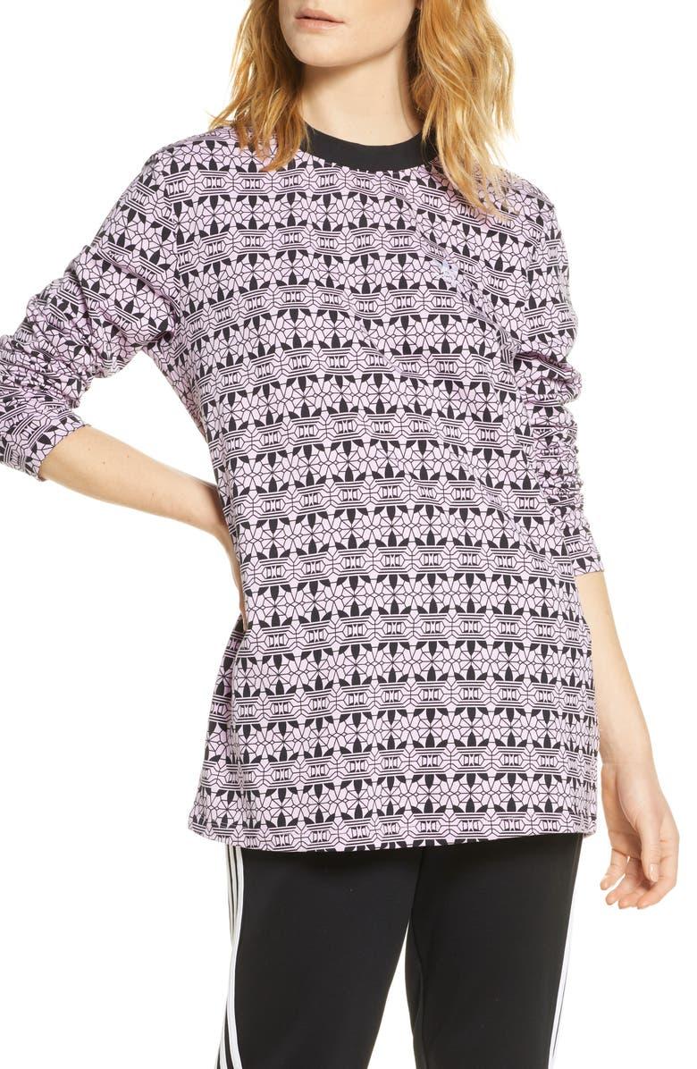 ADIDAS ORIGINALS Print Long Sleeve T-Shirt Dress, Main, color, MAGIC BERRY/ BLACK