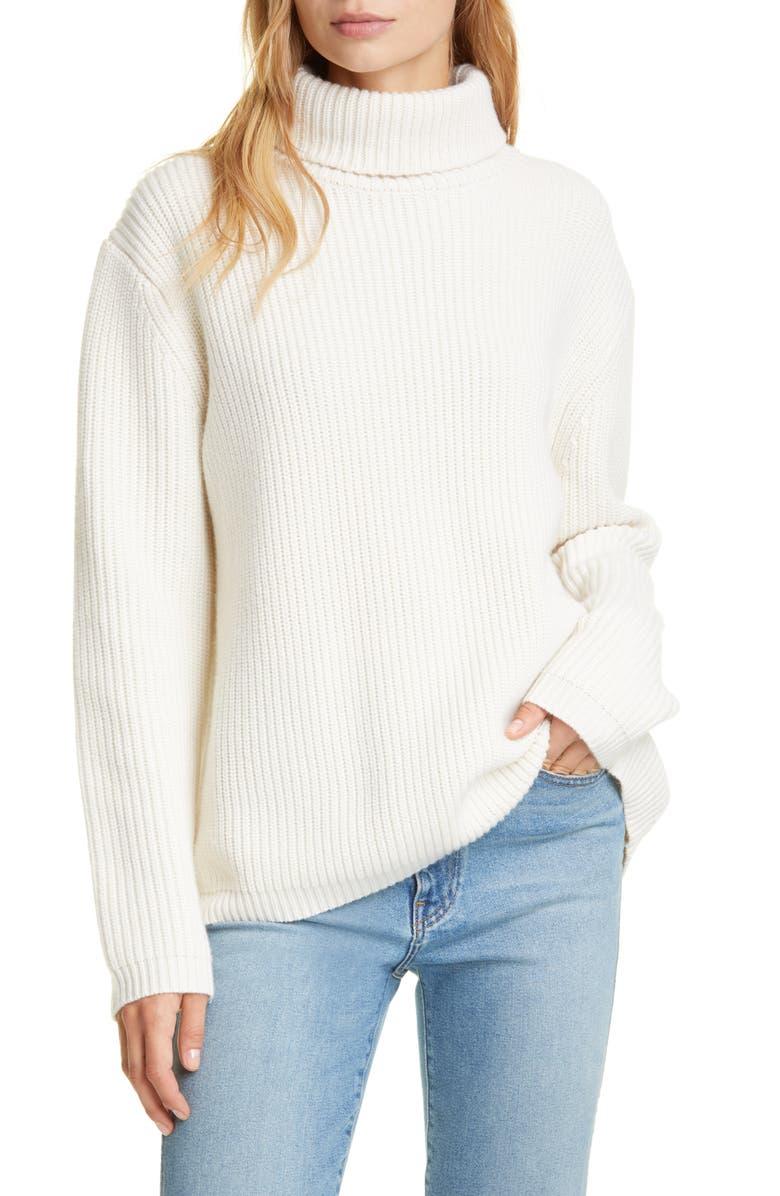 JENNI KAYNE Ribbed Cashmere Turtleneck Sweater, Main, color, IVORY