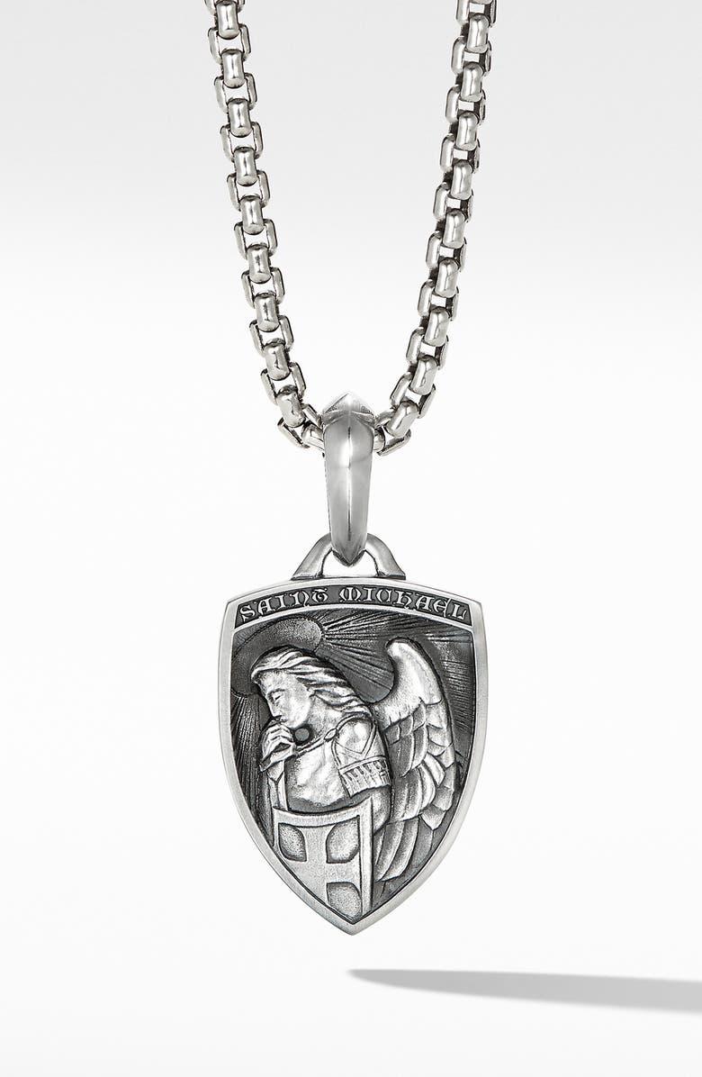 DAVID YURMAN Saint Michael Sterling Silver Amulet, Main, color, SILVER