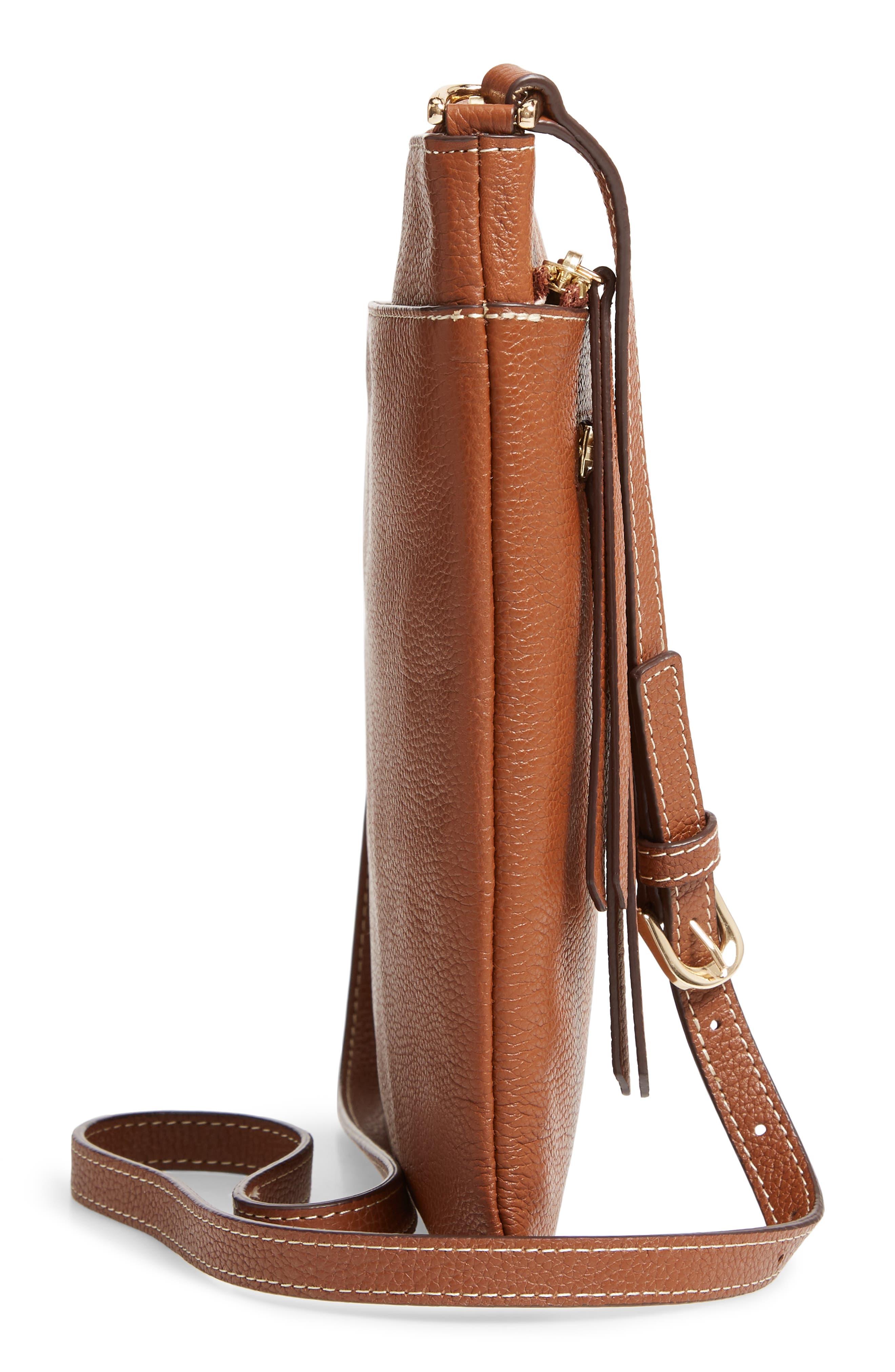 ,                             Finn Leather Crossbody Bag,                             Alternate thumbnail 6, color,                             BROWN AZTEC
