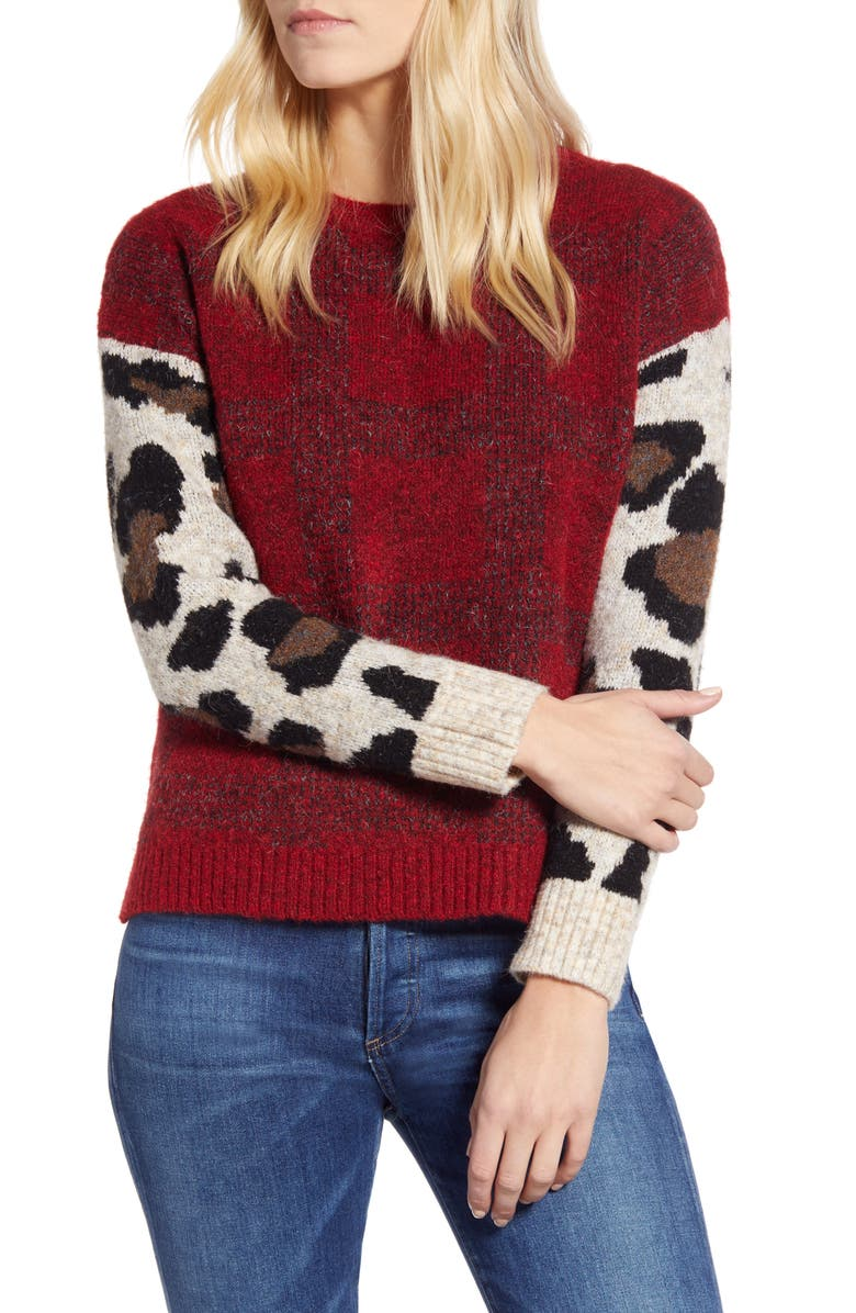 RD STYLE Leopard Sleeve Sweater, Main, color, RED