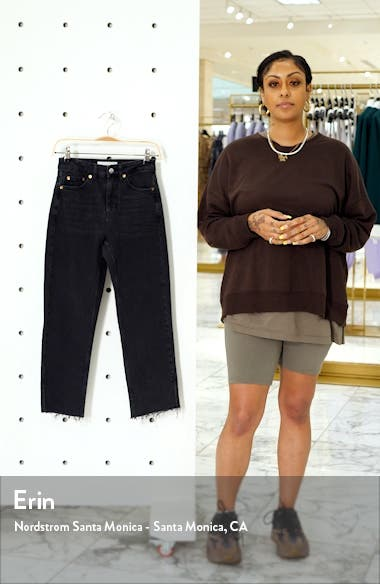 High Waist Split Hem Straight Leg Jeans, sales video thumbnail