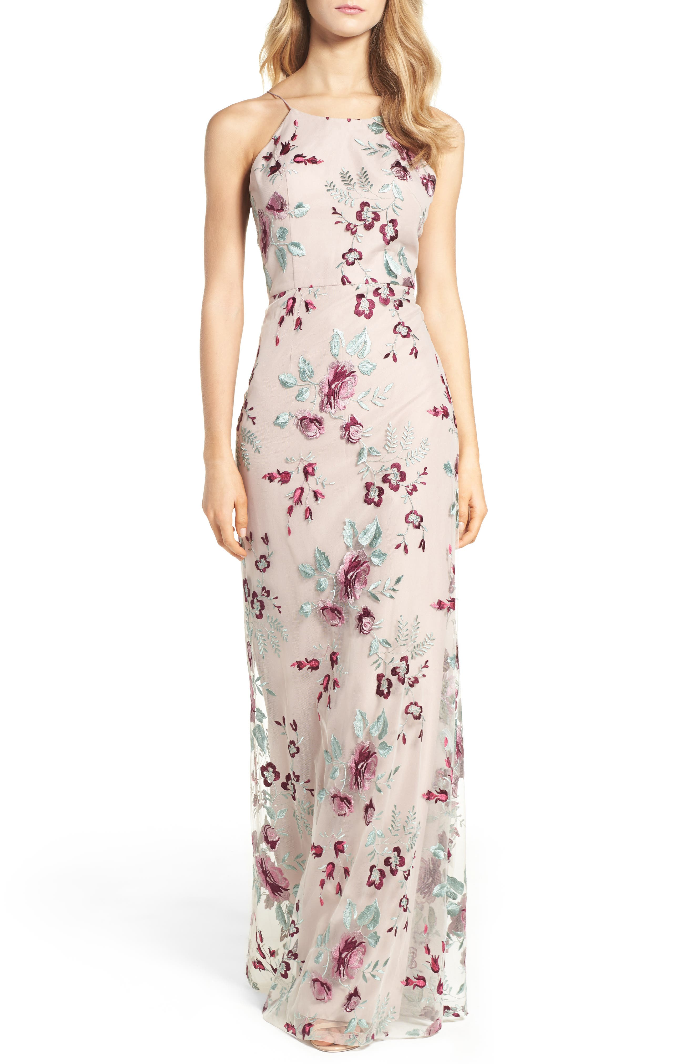 Claire Floral Embroidered Gown, Main, color, BERRY VINTAGE IRIS