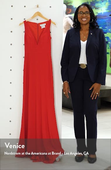 V-Neck Jersey Gown with Train, sales video thumbnail