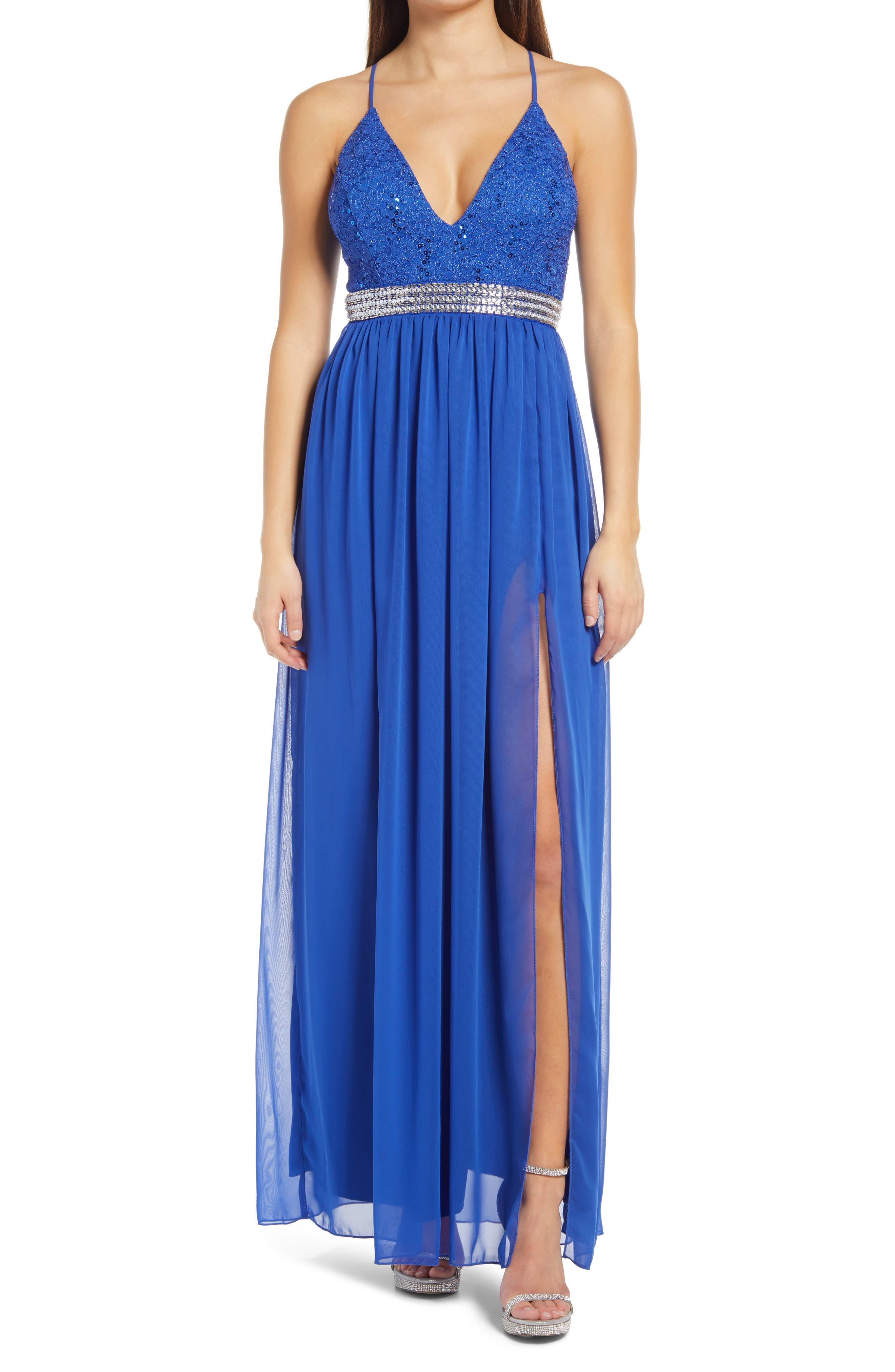 Women's Lnl Sequin Lace & Chiffon Gown