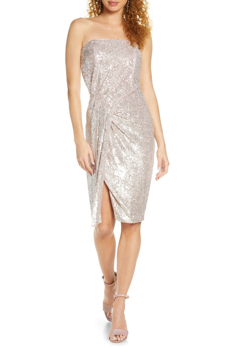 BLACK HALO Domino Strapless Sequin Cocktail Dress, Main, color, CANDY COATED