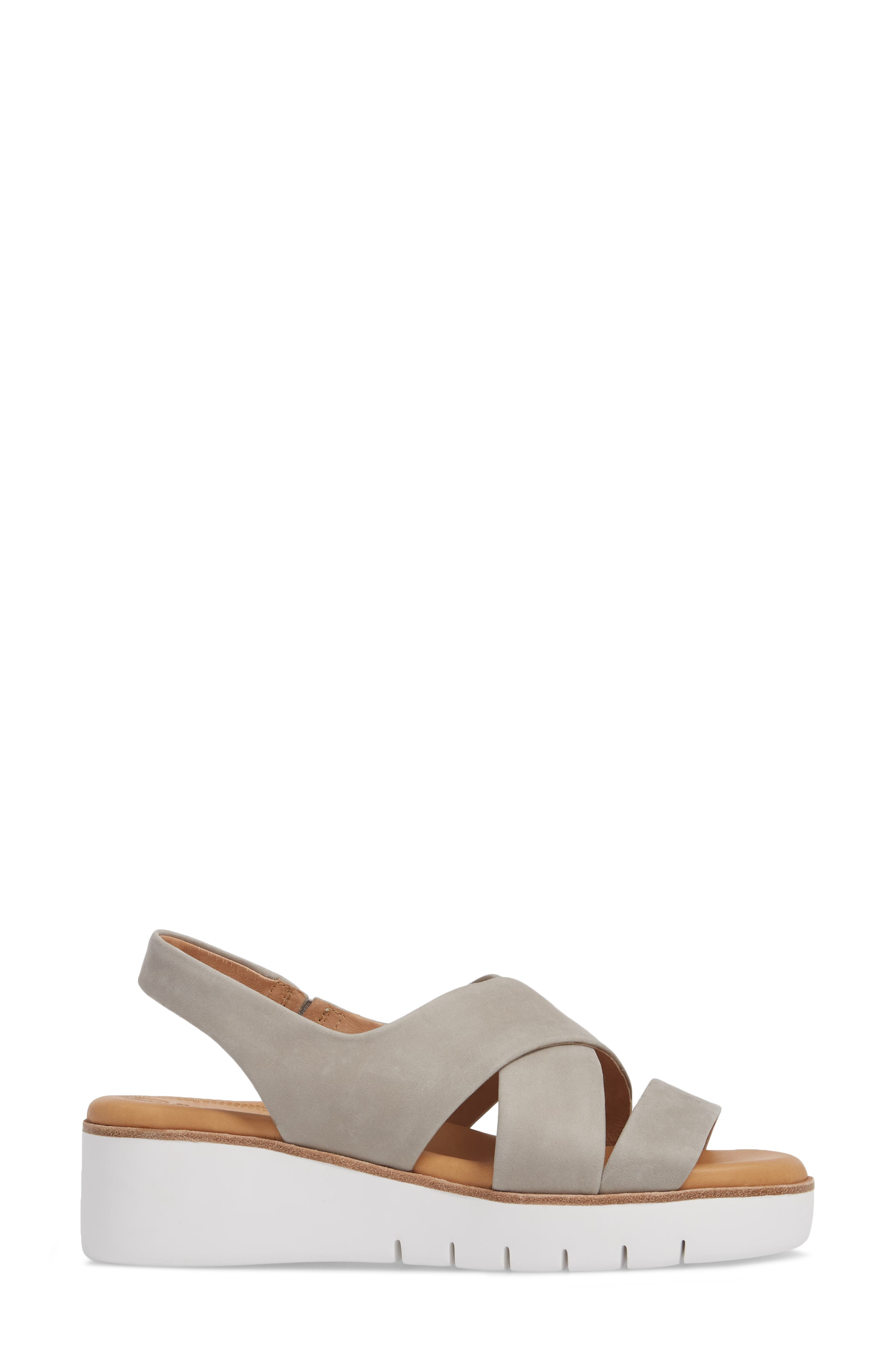 ,                             Brinney Wedge Sandal,                             Alternate thumbnail 3, color,                             GREY LEATHER