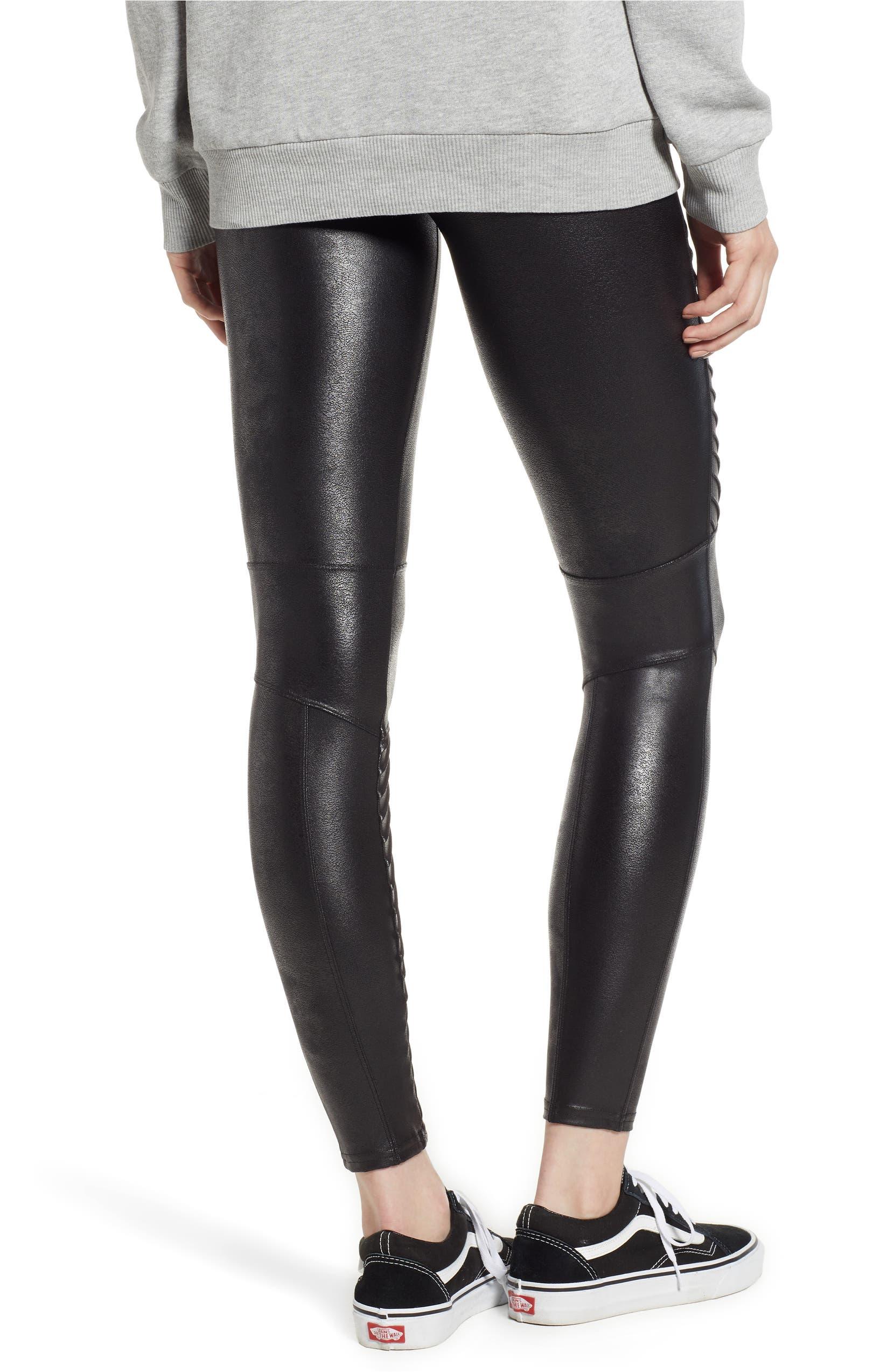 68b3963133 SPANX® Faux Leather Moto Leggings (Petite)   Nordstrom