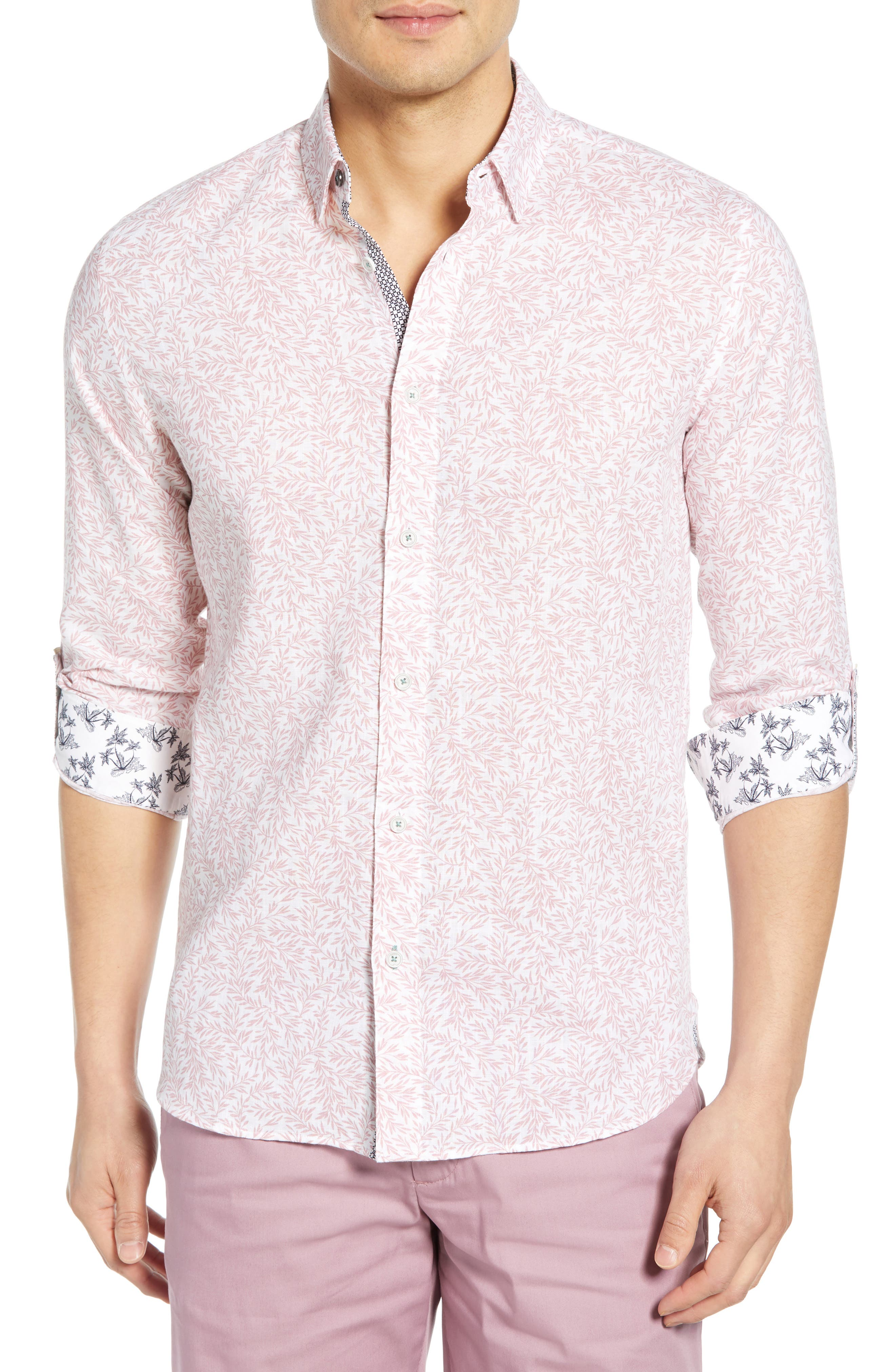 Leemar Slim Fit Floral Sport Shirt, Main, color, PINK