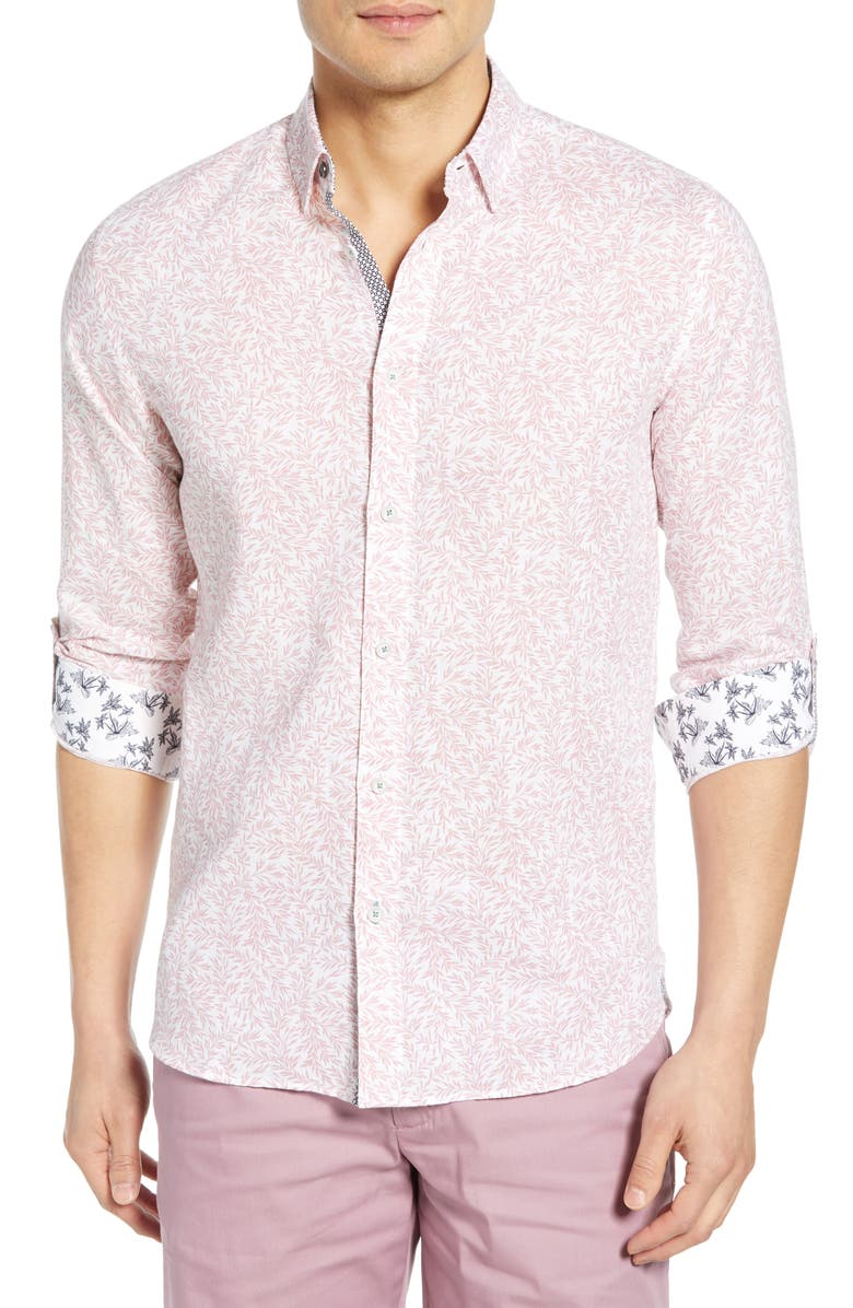 TED BAKER LONDON Leemar Slim Fit Floral Shirt, Main, color, PINK