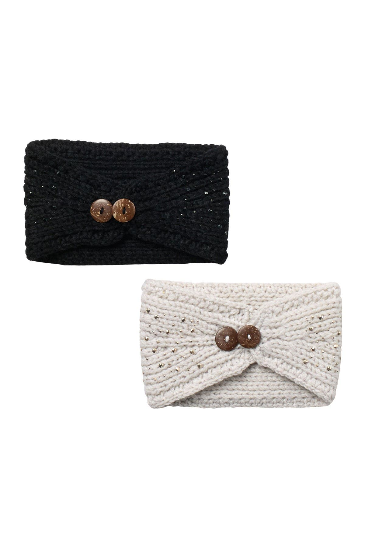 Image of David & Young Knitted Double Button Headband - Set of 2