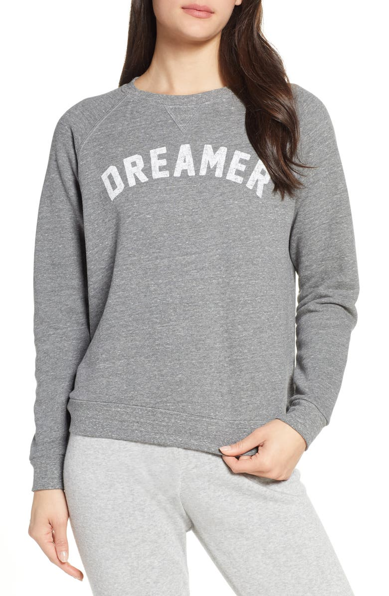SOL ANGELES Dreamer Pullover Sleep Top, Main, color, HEATHER