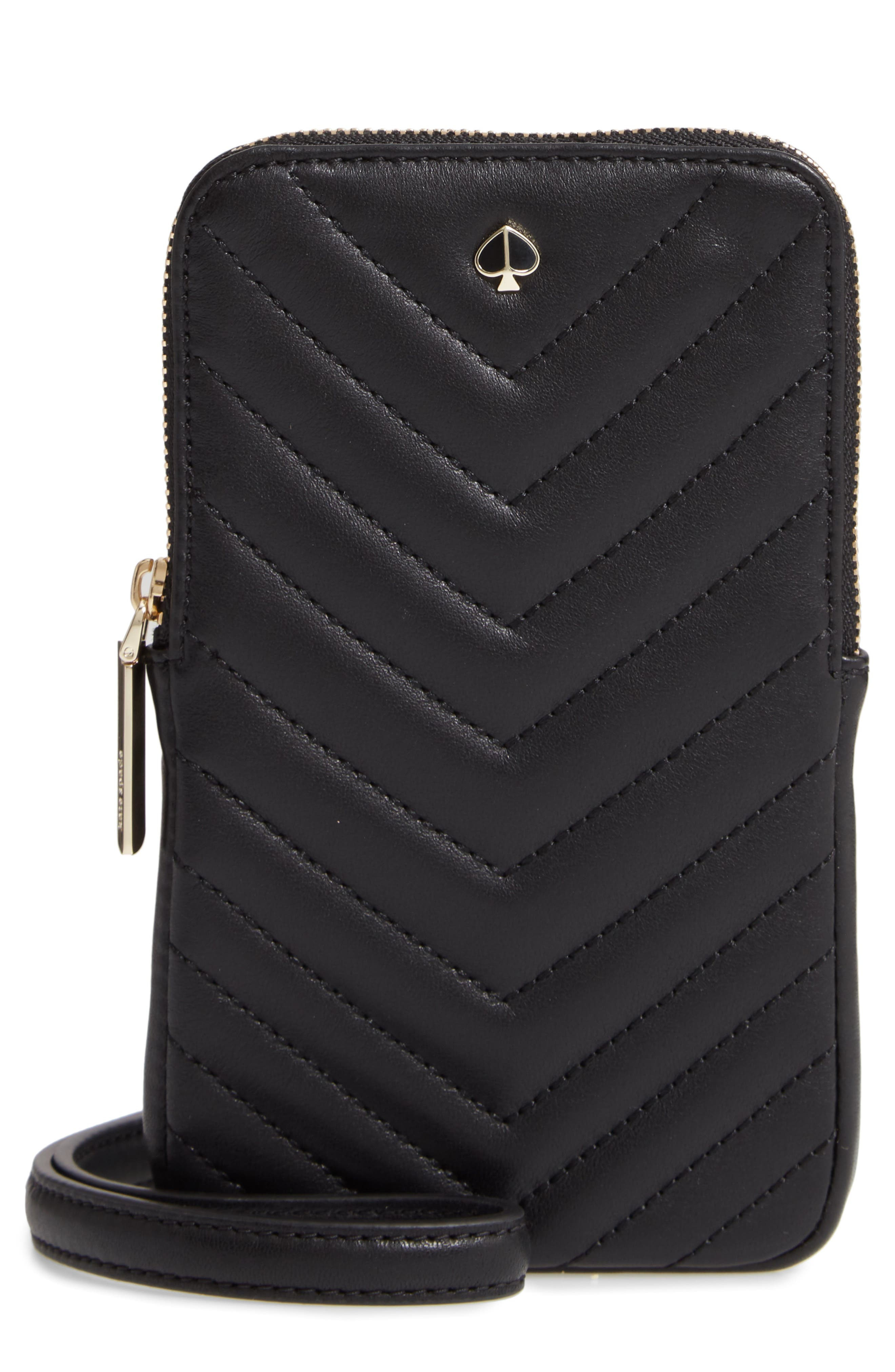 amelia quilted leather phone crossbody bag, Main, color, BLACK