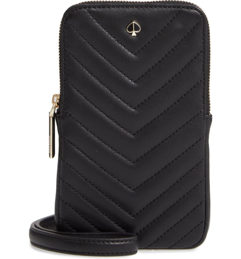 KATE SPADE NEW YORK amelia quilted leather phone crossbody bag, Main, color, 001
