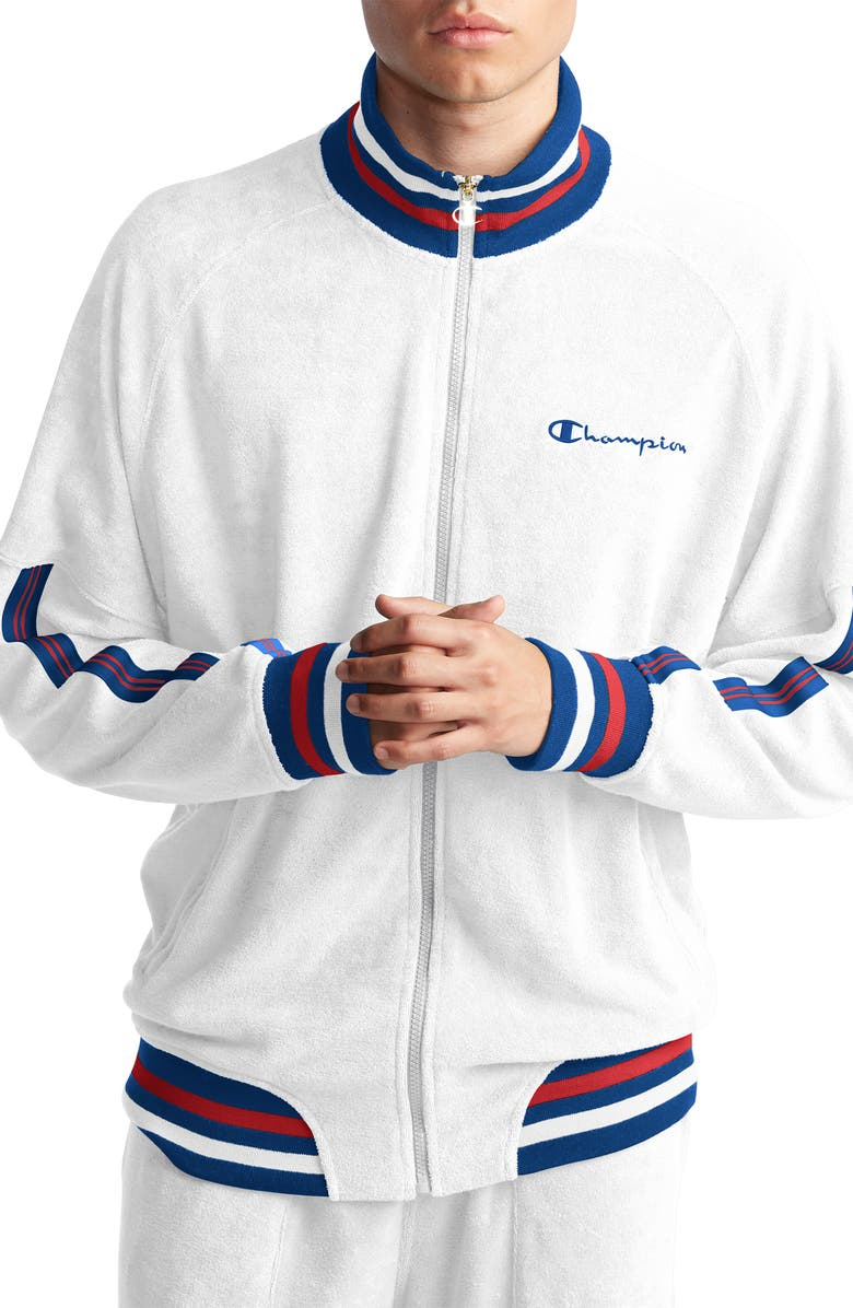 CHAMPION Terry Track Jacket, Main, color, WHITE