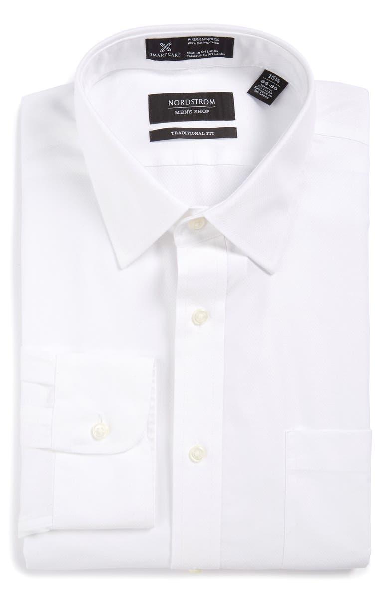 NORDSTROM MEN'S SHOP Smartcare<sup>™</sup> Traditional Fit Solid Dress Shirt, Main, color, 100